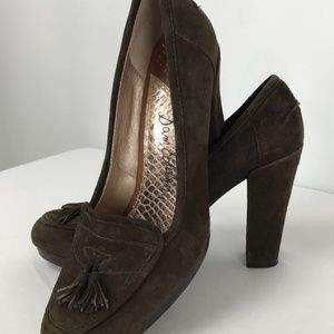 Sam Edelman 9.5 M Brown Suede Block Heel Shoe